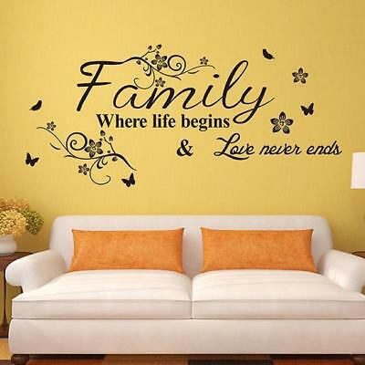 Removable Art Vinyl Quote Wall Stickers Letters Sticker Home Decoration HO3
