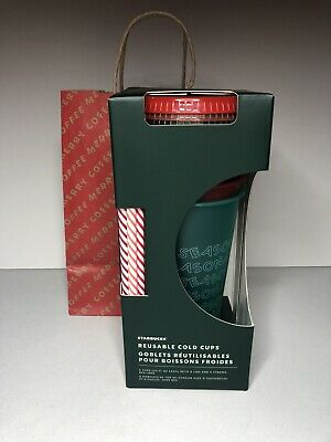 Starbucks 2019 Holiday Christmas Reusable Cold Cups 5 pack w/Straws. New