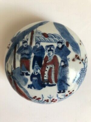 Beautiful Chinese Blue & Red Porcelain Scholar Ink Box