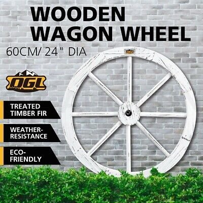 """OGL White Wooden Wagon Wheel Outdoor Rustic Decoration Garden Feature 24"""" Timber"""