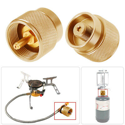 1LB Small Gas Tank Adapter Copper Propane Input Output Camping Stove Adapter Hot