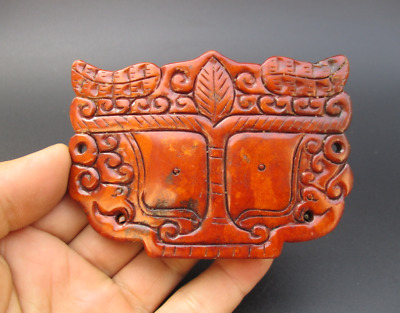 Old China,HongShan culture jade,hand-carved,dragon head,amulet pendant Y254