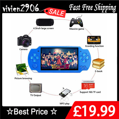 """32 Bit 4.3"""" PSP Portable Handheld Game 8GB Console Player 1w+Games + Camera X6 *"""