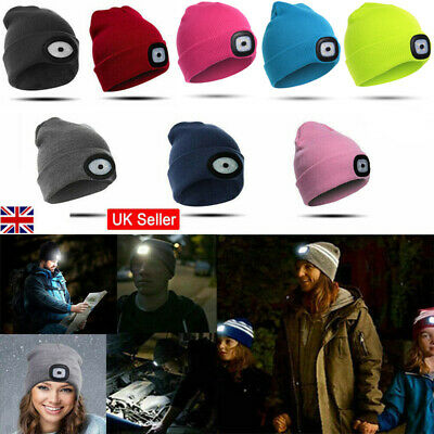 LED Beanie Hat Head Torch Light Camping Walking Cycling Winter Warm Knitted UK