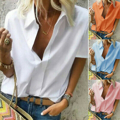 Charms Women Casual Short Sleeved Loose Pure Deep V Neck Summer TShirts