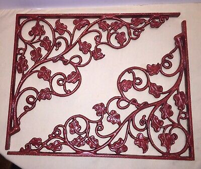 "Architectural Large Vintage Cast Iron Ornate Shelf Brackets Leaf Pair 14""X18"""