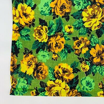 Vintage Cotton Fabric 1960's Floral Yellow Avocado Green Brown Roses Flowers