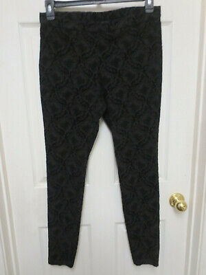 HUE Size L Pull On Leggings Pants ~ Black Plush design on stretch denim ~ NWOT