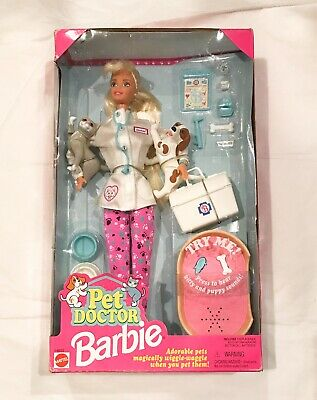 Pet Doctor Barbie Doll w/Dog and Cat Pets with Sound NIB