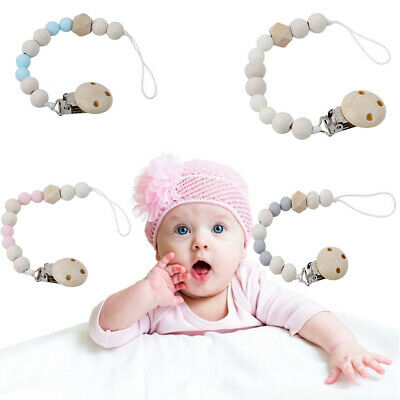 Baby Infant Wooden Beaded Pacifier Holder Clip Nipple Teether Dummy Chain VE