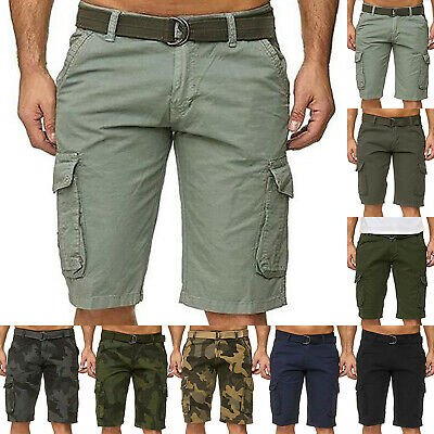 Mens Army Military Combat Camo Shorts Bottoms Belt Casual Cargo Workout Trousers