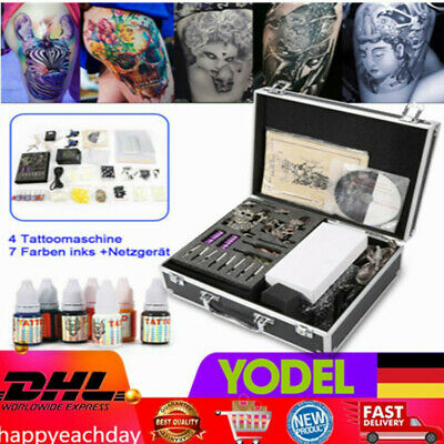 Tätowierung Tattoomaschine Set 4 Tattoo maschine Kit Inks 7 Nadeln komplett Set