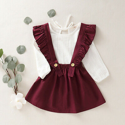 Kids Baby Girls Dresses Clothes Tops T Shirts Skirt Outfits 2PCS Sets Age 1-4 Y