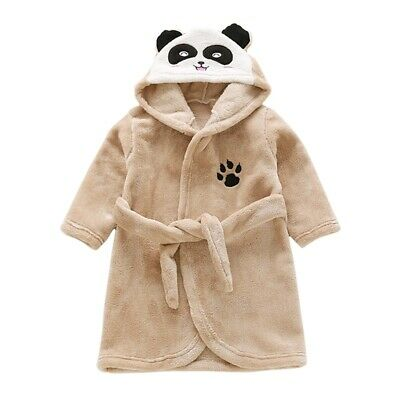 Kids Soft Flannel Bathrobe Children Cartoon Hooded Sleepwear Warmer Nightgown