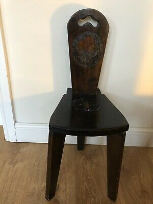 Antique Vintage 3-Legged Oak Wood Hand Carved Child's Spinning Chair / Stool
