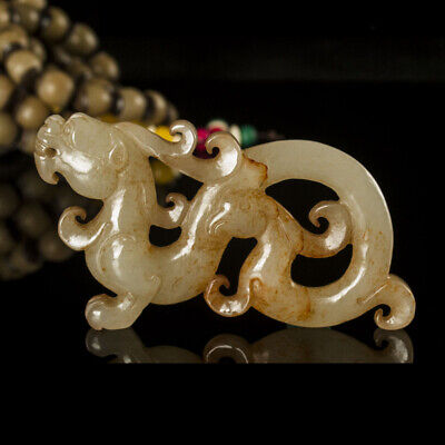 One Fine Chinese Ancient Han Jade Carving Dragon Phoenix 0064