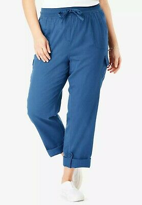 $49 NEW WOMAN WITHIN Navy Blue Convertible Length Petite Cargo Capri//Pant 5763