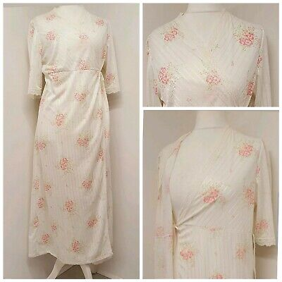 Vintage Made In England Negligee Style Dressing Gown Robe Medium Floral Lace...