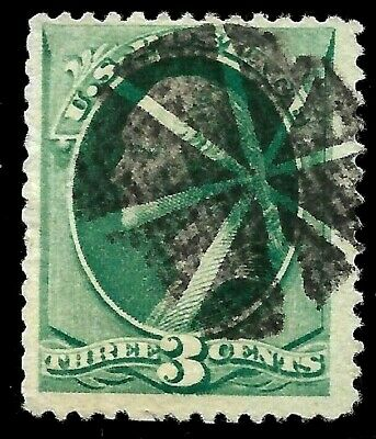 """Fancy Cancel """"Circle of Wedges"""" 3 Cent Green Washington Banknote 1871-83 US 2472"""