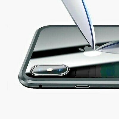 Metal Magnetic Case for iPhone 11 Pro Max XR XS MAX X + Tempered Glass