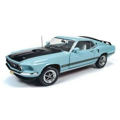 Ford Mustang Mach 1 1969 Blue 1/18 - AMM1181 AUTOWORLD