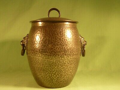 Arts & Crafts Hammered Pewter Biscuit Barrel English Pewter Solkets 01065