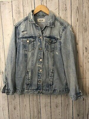 Women's / Ladies New Look Light Blue Ripped Denim Jacket Size 10 - Excellent
