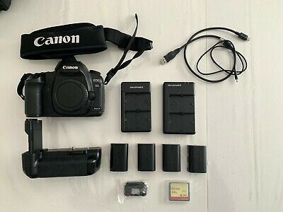 Canon 5D Mark ii with batteries, battery grip, 64 gb CF card and intervallometer