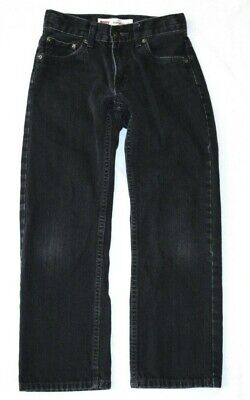 Boys Levis 505 Straight Black Denim Jeans Size 10 Reg Short ! Faded Adjust Waist