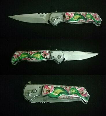 Tactical Force Assisted Pocket Folding Knife Custom Handle Pearl Inlay Art R-102