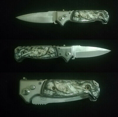 Tactical Force Assisted Pocket Folding Knife Custom Handle Pearl Inlay Art R-107