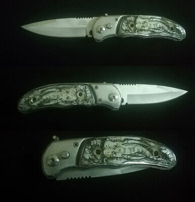Tactical Force Assisted Pocket Folding Knife Custom Handle Pearl Inlay Art R-109