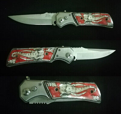Tactical Force Assisted Pocket Folding Knife Custom Handle Pearl Inlay Art R-110