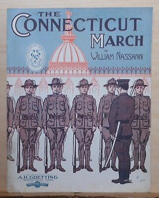 The Connecticut March - 1911 large music - soldiers at attention, instrumental