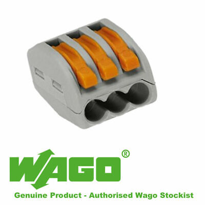 Wago 222-413  3way electrical connector block Genuine Wago Blocks