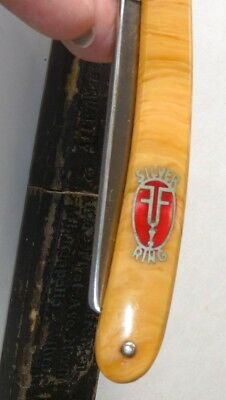 Early 1900's GRAH & PLUMACHER SILVER RING, Inlaid Straight Razor With Box