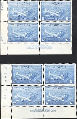 CANADA, 1946. Air Mail Special Delivery CE3-4 Plate Blocks, Mint