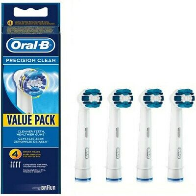 4x Braun Oral B Precision Clean Replacement Electric Toothbrush Heads cross