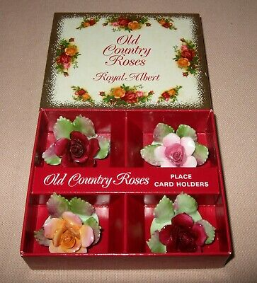 Royal Albert Old Country Roses 4 Place Card Holders, English 1St Quality Set2