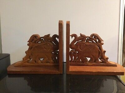 Unique Hand Crafted Wooden Elephant Bookends from India