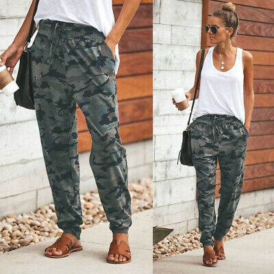 Womens Camo Cargo Joggers Trousers Ladies Bottoms Jogging Gym Pants Tracksuit ND