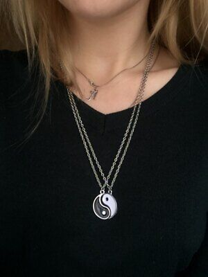 Yin Yang Best Friend Pendant Necklace 2 Pieces White And Black BFF Jewelry Party