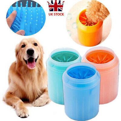 Portable Dog Paw Cleaner Pet Cleaning Brush Cup Dog Foot Cleaner Feet Washer UK