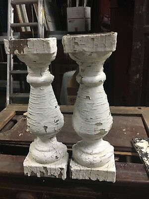 "2 Salvaged turned HALF Victorian baluster chippy paint 16.5"" h x 4.5/5.5"" x 2.5"""