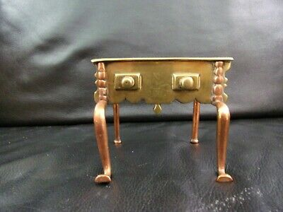 """Antique Brass Copper Trivet Stand Early pos 18th 19th cent miniature 4"""" height"""