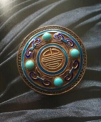 Vintage Chinese sterling silver gilt Mesh, Enamel & turquoise color Brooch .