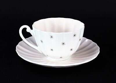 Shelley England Fine Bone China Tea Cup & Saucer 13774 Pastel Pink and White