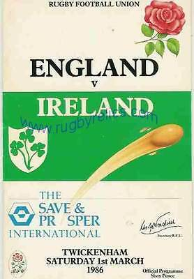 ENGLAND v IRELAND 1986 RUGBY PROGRAMME 1 MARCH - TWICKENHAM
