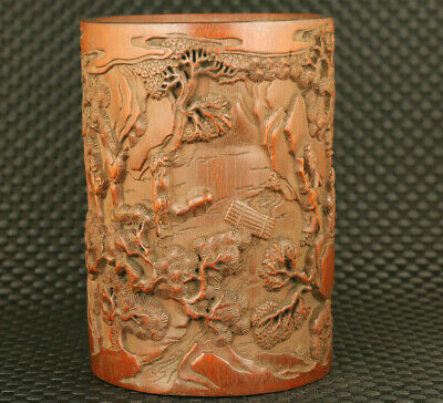 old chinese boxwood hand carved tree ancients statue brush pot / vase decoration
