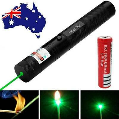 Military 20 Miles Green 1mw 532nm Lasers Pointers Pens Visible Beam&18650 AU